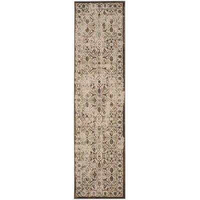 Roma Cream / Bronze Area Rug Rug Size: Runner 22 x 8