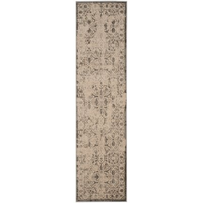 Roma Cream / Gray Area Rug Rug Size: Runner 22 x 8