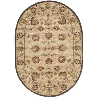 Copenhagen Hand-Tufted Wool Beige Area Rug Rug Size: Oval 46 x 66