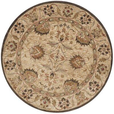 Copenhagen Hand-Tufted Wool Beige Area Rug Rug Size: Round 6