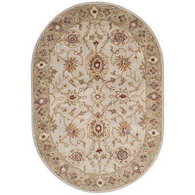 Copenhagen Hand-Tufted Wool Gray/Beige Area Rug Rug Size: Oval 46 x 66