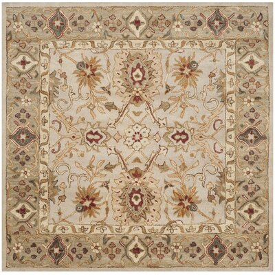 Copenhagen Hand-Tufted Wool Gray/Beige Area Rug Rug Size: Square 6
