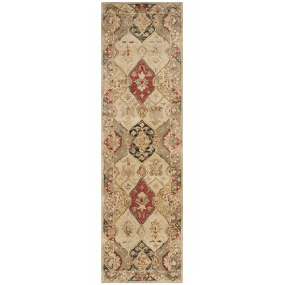Byblos Traditional Hand-Tufted Wool Beige Area Rug Rug Size: Runner 23 x 12