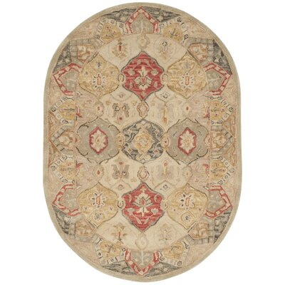 Byblos Traditional Hand-Tufted Wool Beige Area Rug Rug Size: Oval 46 x 66