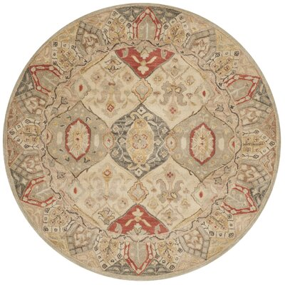 Byblos Traditional Hand-Tufted Wool Beige Area Rug Rug Size: Round 6