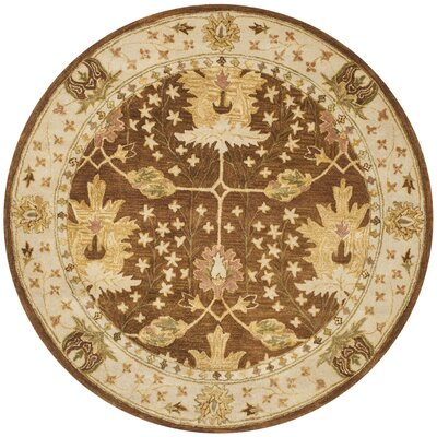 Byblos Hand-Tufted Wool Brown Area Rug Rug Size: Round 6