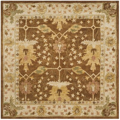 Byblos Hand-Tufted Wool Brown Area Rug Rug Size: Square 6