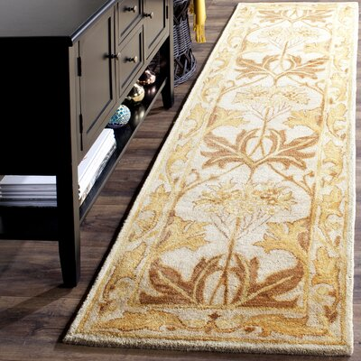 Byblos Hand-Tufted Wool Beige Area Rug Rug Size: Runner 23 x 12