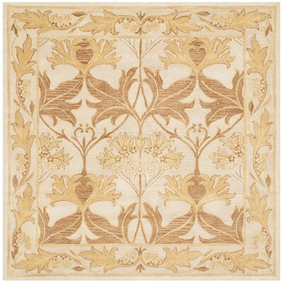 Byblos Hand-Tufted Wool Beige Area Rug Rug Size: Square 6