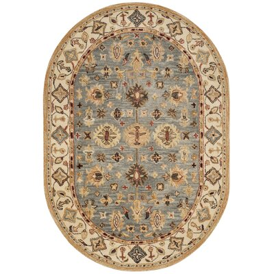 Tinley Hand-Tufted Wool Beige Area Rug Rug Size: Oval 46 x 66