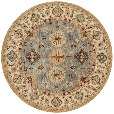 Tinley Hand-Tufted Wool Beige Area Rug Rug Size: Round 6