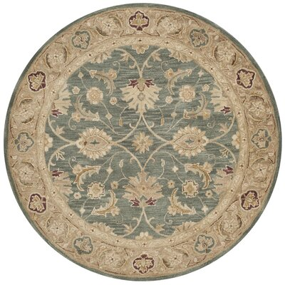 Tinley Hand-Tufted Wool Teal Blue Area Rug Rug Size: Round 6