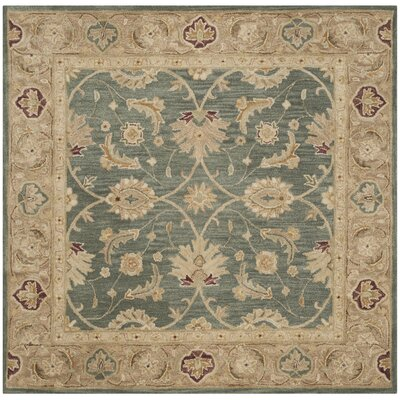 Tinley Hand-Tufted Wool Teal Blue Area Rug Rug Size: Square 6
