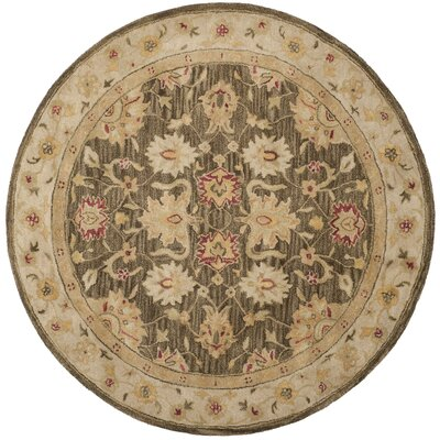 Tinley Hand-Tufted Wool Olive Gray Area Rug Rug Size: Round 6