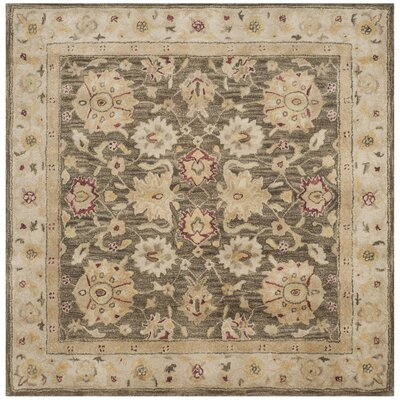 Tinley Hand-Tufted Wool Olive Gray Area Rug Rug Size: Square 6