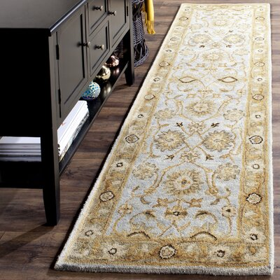 Tinley Hand-Tufted Wool Light Blue Area Rug Rug Size: Runner 23 x 12