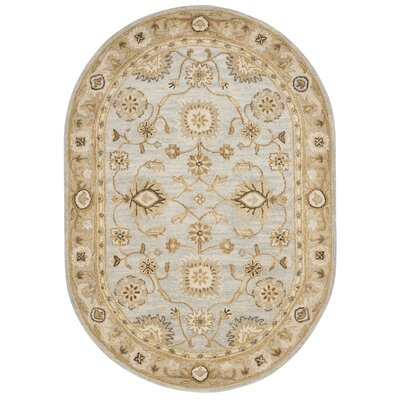Tinley Hand-Tufted Wool Light Blue Area Rug Rug Size: Oval 46 x 66
