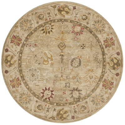 Tinley Hand-Tufted Wool Taupe Area Rug Rug Size: Round 6