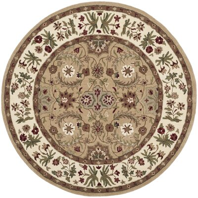 Burruss Hand-Tufted Tan Area Rug Rug Size: Round 5