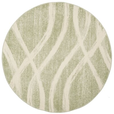 Graciano Beige/Green Area Rug Rug Size: Round 6