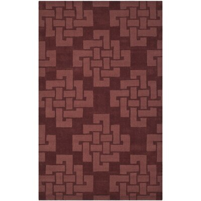 Andria Hand Tufted Wool Brick Red Area Rug