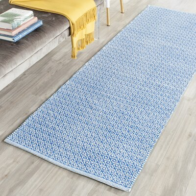 Fran Lattice Hand Woven Cotton Blue Area Rug