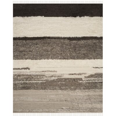 Xue Hand Knotted Wool Ivory/Gray Area Rug Rug Size: Rectangle 9 x 12