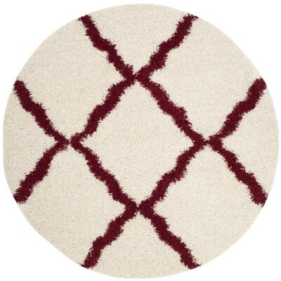 Brentwood Beige/Red Area Rug Rug Size: Round 6