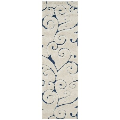 Alison Cream/Navy Blue Area Rug Rug Size: Runner 23 x 9