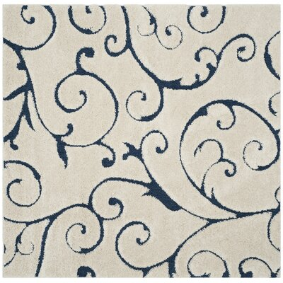 Alison Cream/Navy Blue Area Rug Rug Size: Square 5