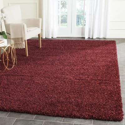 Psyche Shag Maroon Area Rug Rug Size: Rectangle 8 x 10