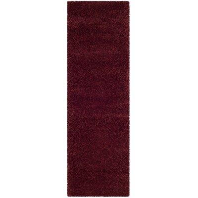 Psyche Shag Maroon Area Rug Rug Size: Runner 23 x 11