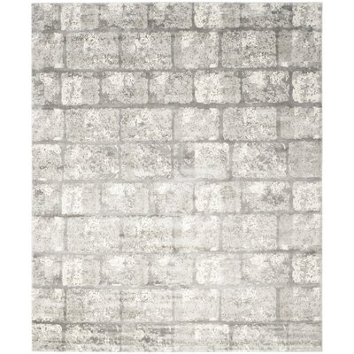 Elrod Tibetan Hand Loomed Gray/Silver Area Rug Rug Size: Rectangle 9 x 12