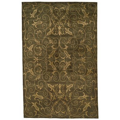 Honora Tibetan Hand Knotted Silk/Wool Green/Gold Area Rug Rug Size: Rectangle 8 x 10