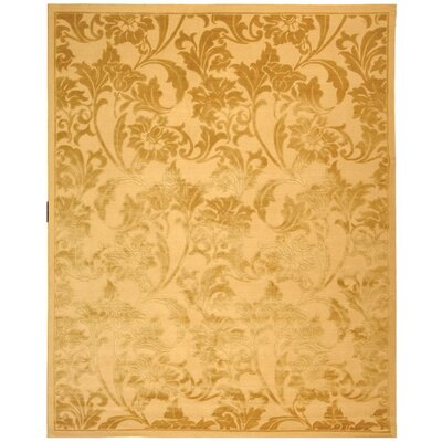 Claussen Tibetan Hand Knotted Silk/Wool Beige/Light Gold Area Rug