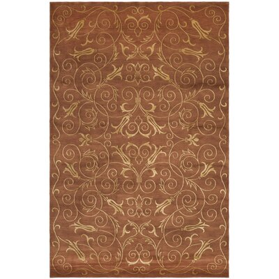 Echevarria Hand Knotted Silk/Wool Rust/Gold Area Rug Rug Size: Rectangle 6 x 9
