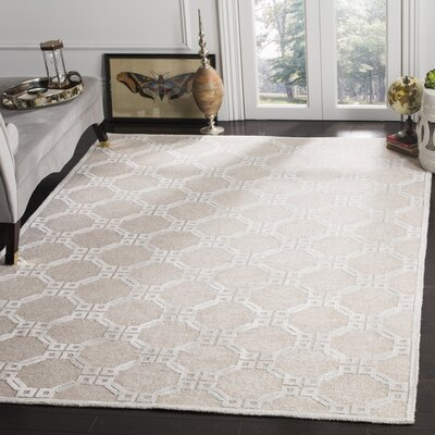 Paramkusham Tibetan Hand Knotted Beige/Light Blue Area Rug Rug Size: Rectangle 8 x 10
