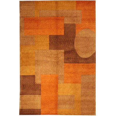 Dillinger Tibetan Hand Knotted Orange Area Rug Rug Size: Rectangle 9 x 12