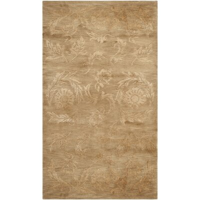 Honora Tibetan Hand Knotted Silk/Wool Beige Area Rug Rug Size: Rectangle 6 x 9
