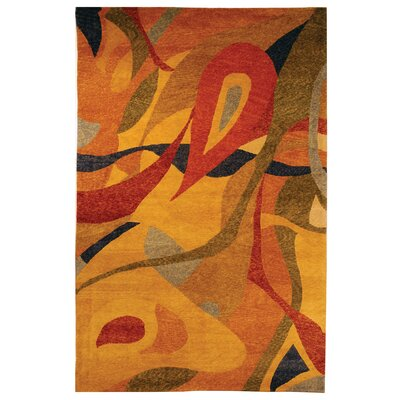 Kneiske Tibetan Hand Knotted Red/Yellow Area Rug