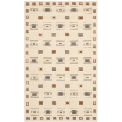 Kneiske Tibetan Hand Knotted Wool Ivory Area Rug Rug Size: Rectangle 6 x 9