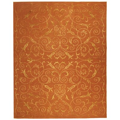 Honora Tibetan Hand Knotted Silk/Wool Rust Area Rug Rug Size: Rectangle 8 x 10