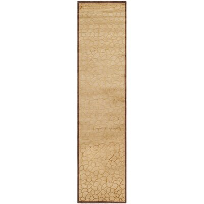 Youmans Tibetan Hand Knotted Silk/Wool Gold Area Rug Rug Size: Runner 26 x 12