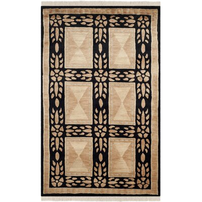 Claussen Tibetan Hand Knotted Wool Beige/Black Area Rug Rug Size: Rectangle 9 x 12