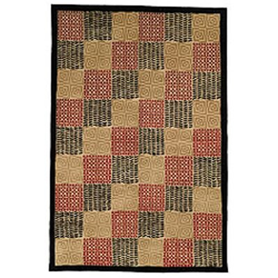 Youmans Tibetan Hand Knotted Silk/Wool Black/Rust Area Rug Rug Size: Rectangle 5 x 76