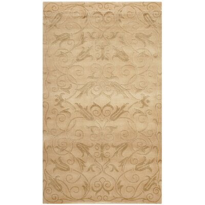 Honora Tibetan Hand Knotted Silk/Wool Ivory Area Rug Rug Size: Rectangle 6 x 9