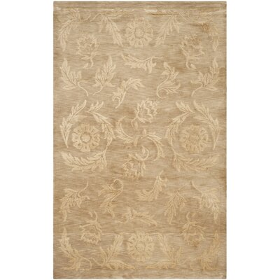 Honora Tibetan Hand Knotted Silk/Wool Beige Area Rug Rug Size: Rectangle 4 x 6