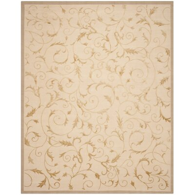Claussen Tibetan Hand Knotted Silk/Wool Beige Area Rug Rug Size: Rectangle 4 x 6