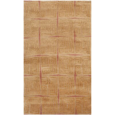 Youmans Tibetan Hand Knotted Silk/Wool Gold/Rust Area Rug
