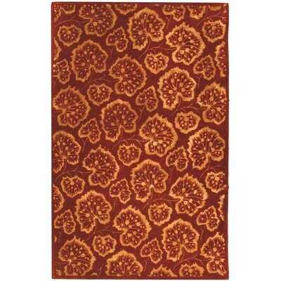 Sunny Geranium Leaf Hand Tufted Wool Crimson Area Rug Rug Size: Rectangle 56 x 86